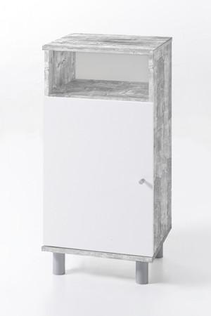 Unterschrank 1-trg. mit einem Fach Beton / Weiß Melamin Dekor