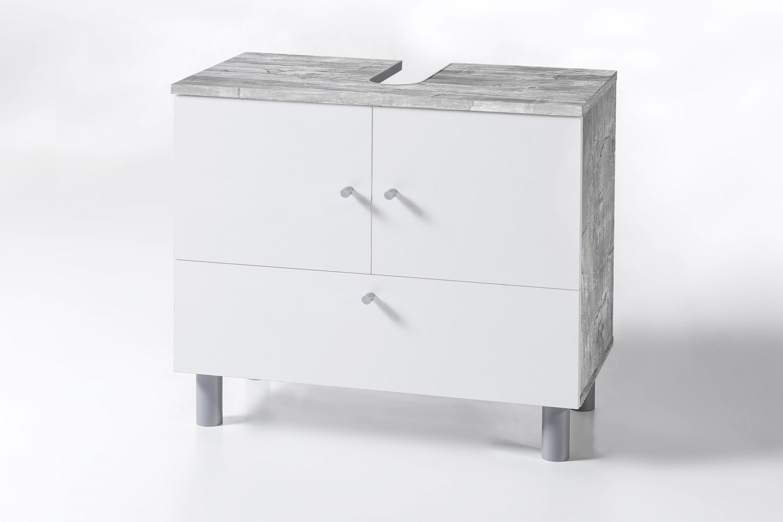 Waschbecken Unterschrank 2-trg. und 1 Klappe Beton / Weiß Melamin ...
