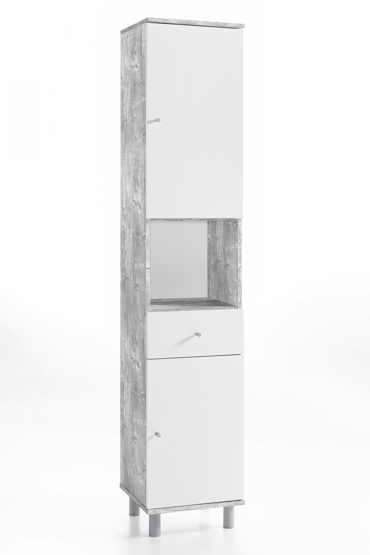 Hochschrank 2-trg. mit 1 offenen Fach und 1 Schublade Beton / Weiß ...