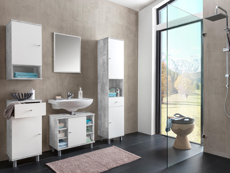 bad set smart 3 5 teilig beton wei badezimmer. Black Bedroom Furniture Sets. Home Design Ideas