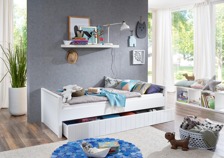einzelbett luka inkl bettkasten schublade 90x200 mdf wei lackiert m bel baby kinderzimmer. Black Bedroom Furniture Sets. Home Design Ideas