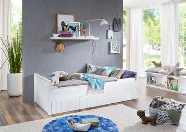 Einzelbett Luka inkl. Bettkasten/Schublade 90x200 MDF, Weiß lackiert – Bild 2