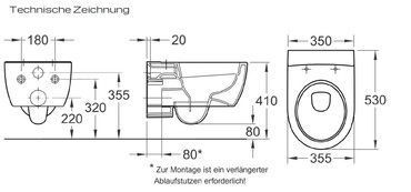 Tiefspül-Wand-WC Set iCon Rimfree®, mit WC-Sitz Absenkautomatik, Weiß – Bild 3