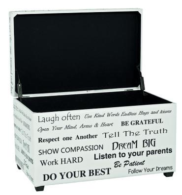 Sitztruhe weiß-schwarz, mit Kunstleder und Motivdruck – Bild 1