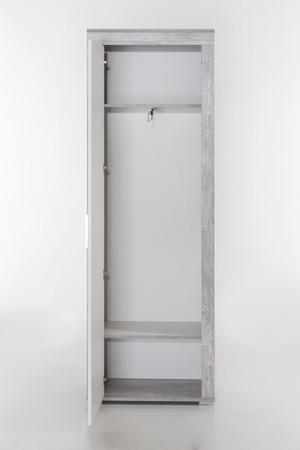 Garderobenschrank Lake, 1 Tür - Beton-Weiß – Bild 2