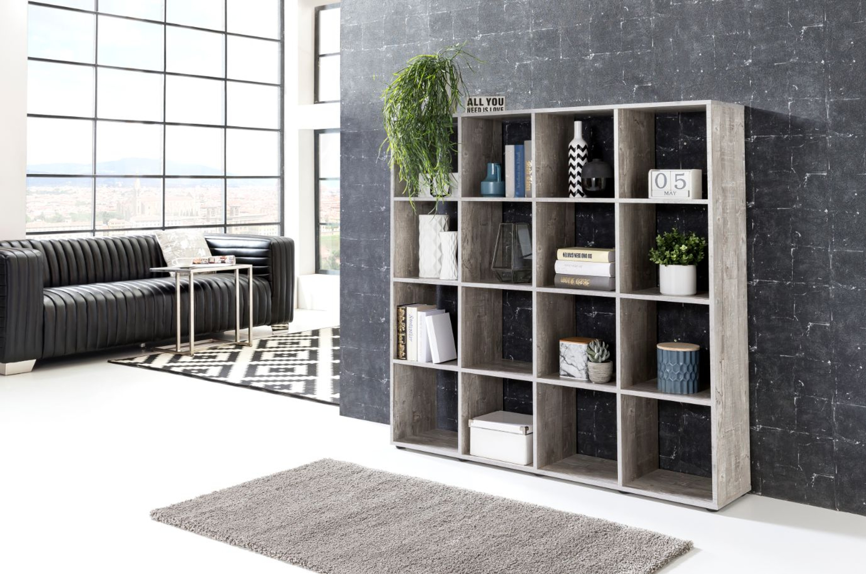 regal raumteiler mit 16 f chern in zwei farben m bel wohnzimmer lowboards. Black Bedroom Furniture Sets. Home Design Ideas