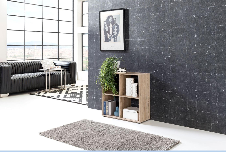 Regal /Raumteiler 4 Fächern, Farben: Beton oder Sandeiche ...