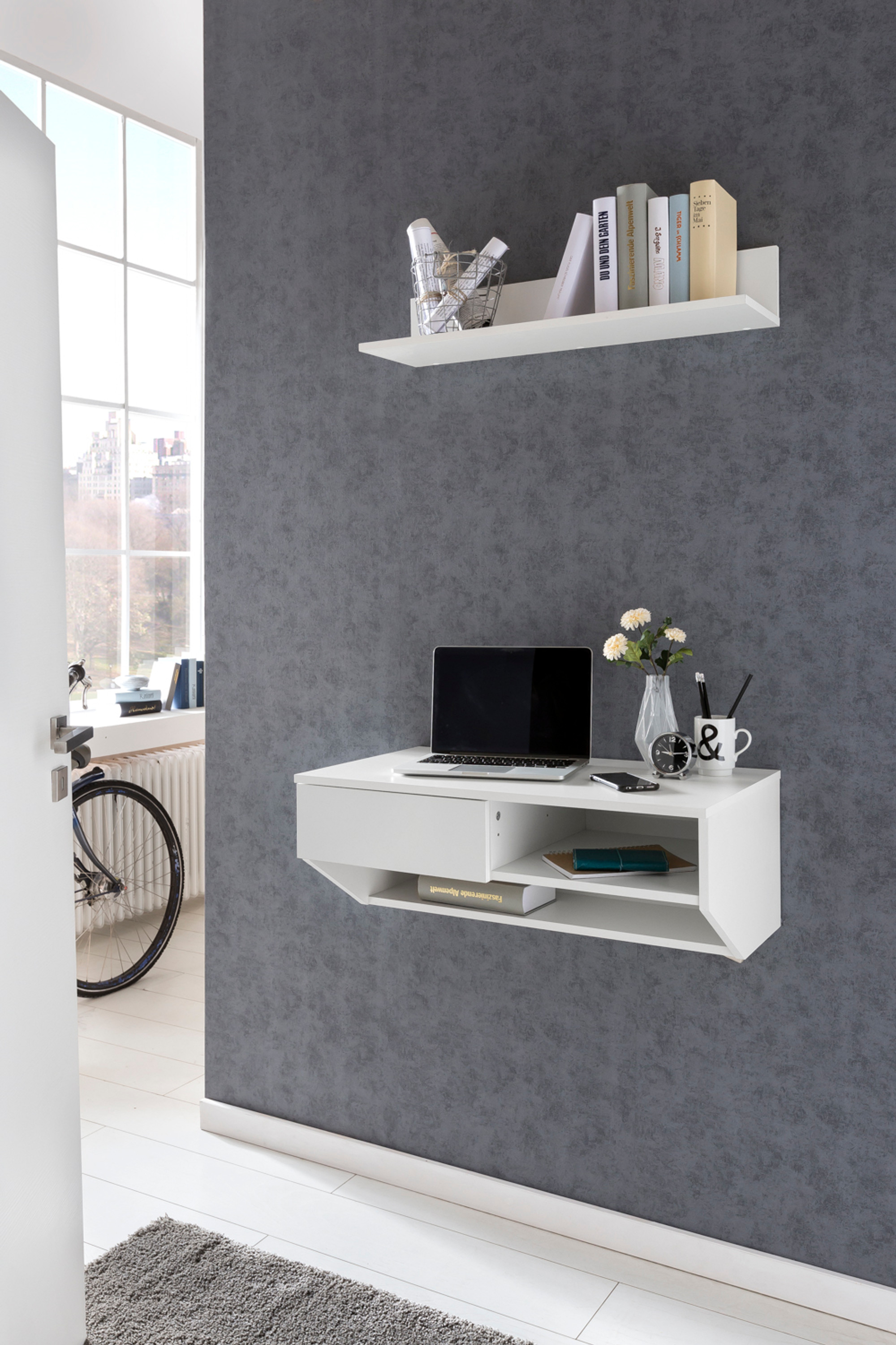 wand konsole office mit regal in drei farben accessoires regale. Black Bedroom Furniture Sets. Home Design Ideas