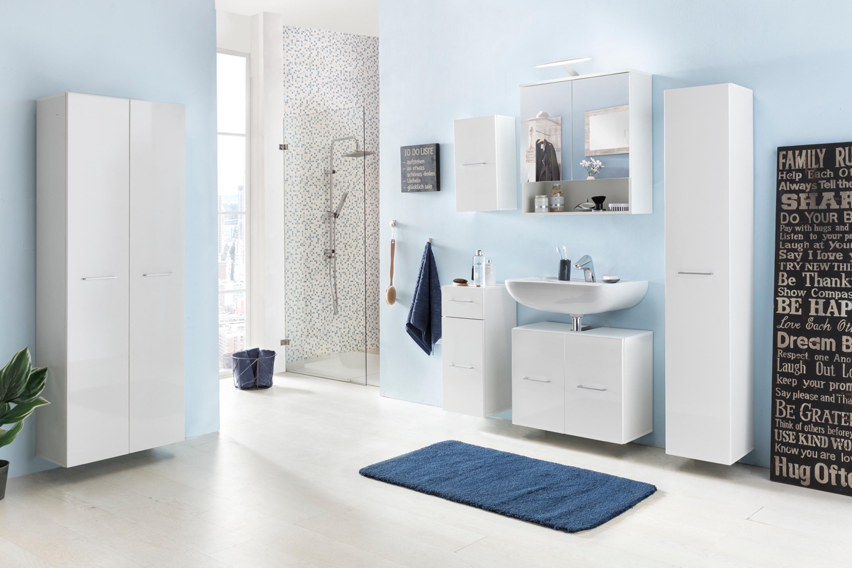 Badezimmer Set Bad Pure II, In Den Farben Beton Hochglanz Oder Weiß  Hochglanz, Mit Beleuchtung
