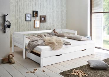 Funktionsbett EMILIA 90/180x200 Buche massiv weiß, inkl. Bettschublade – Bild 2