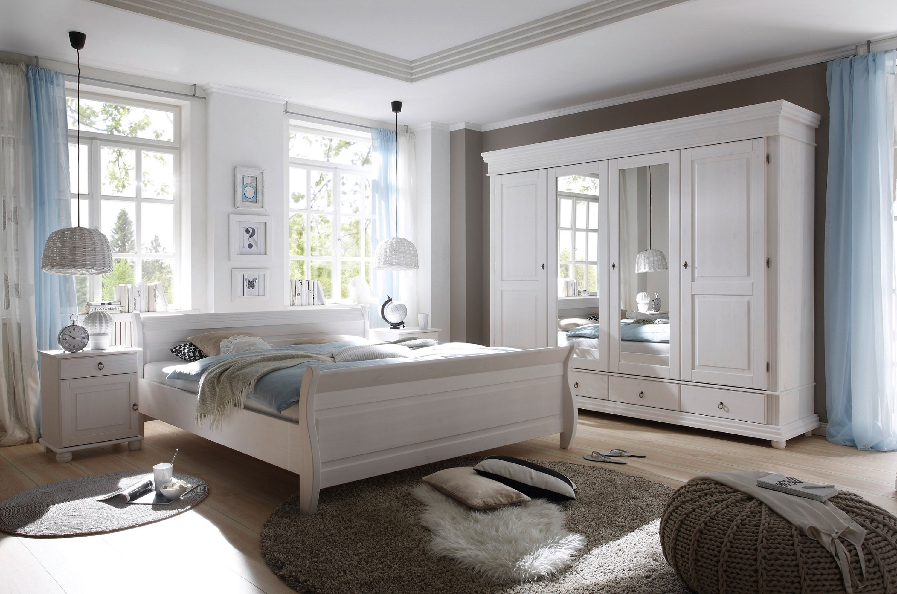 schlafzimmer oslo 4 tlg in kiefer massiv wei gewachst m bel schlafzimmer schlafzimmersets. Black Bedroom Furniture Sets. Home Design Ideas