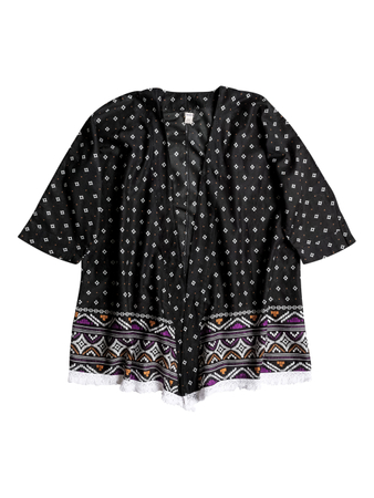 ROXY Damen T-Shirt DREAMIN'BEACH KIMONO (Black)