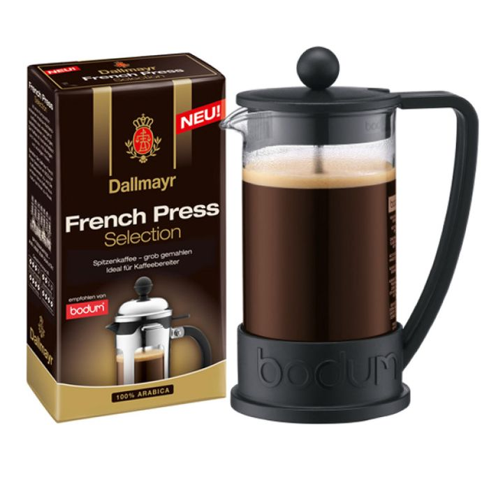 Bodum Brazil Kaffeebereiter inkl. Dallmayr French Press Selection, Gemahlener Röstkaffee, 250 g