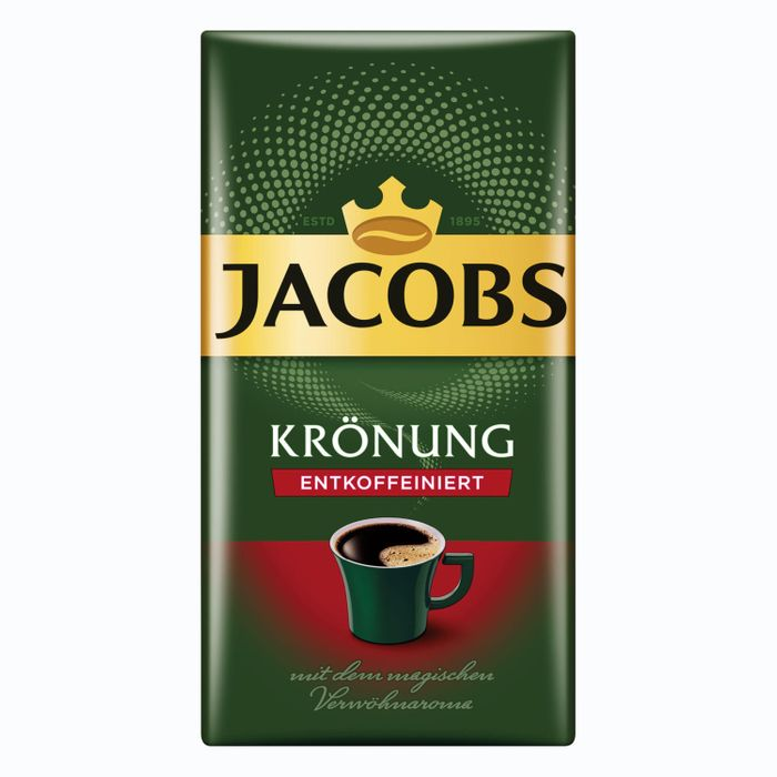 Jacobs Krönung Entkoffeiniert, gemahlener Röstkaffee, Filterkaffee, Kaffee, 500 g