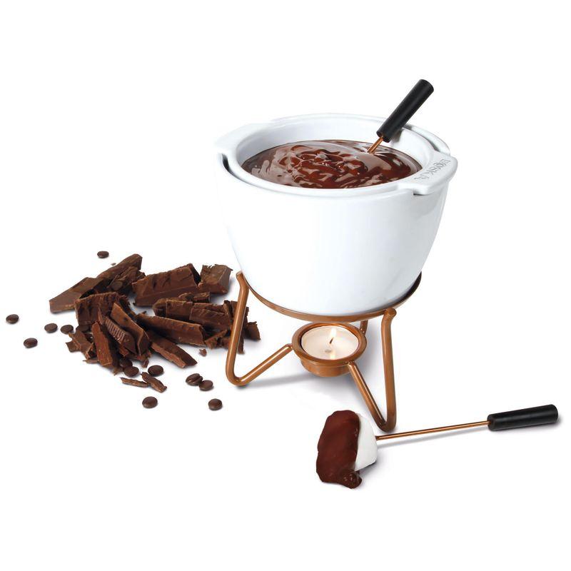 320400 Schokoladenfondue Wei/ß//Kupfer /Ø 14 cm BOSKA Chocowares Choco Fondue Marie Schokoladenfondue-Set 6-TLG Fonduetopf Edelstahl//Keramik Schokofondue