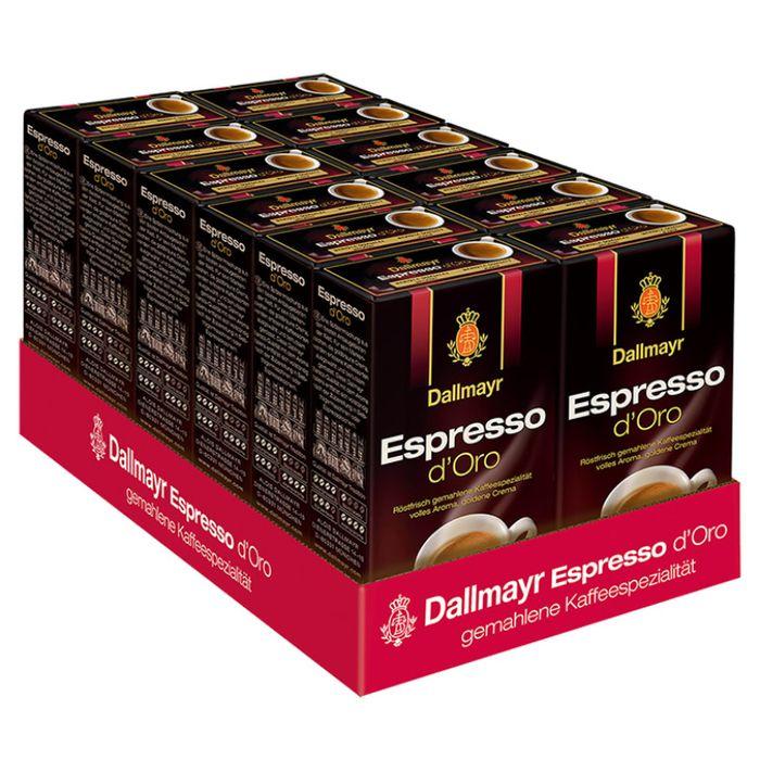 Dallmayr Espresso d'Oro, Kaffee, Gemahlener Röstkaffee, Goldene Crema, 12 x 250 g