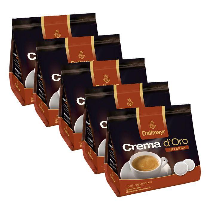 Dallmayr Crema dOro Intensa Kaffeepads, für alle Pad Maschinen, Röstkaffee, 80 Pads, á 7 g