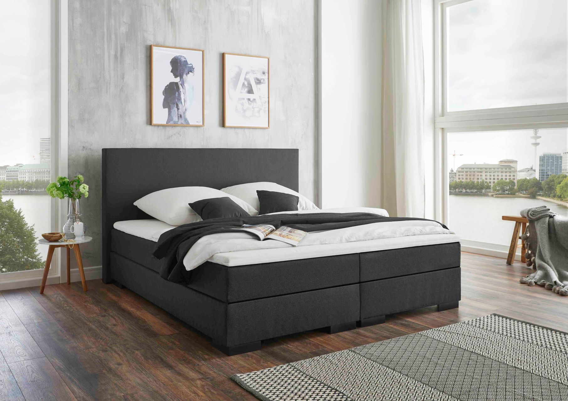 belvandeo verona amerikanisches boxspring bett bonellfederkern matratze h rtegrad h2. Black Bedroom Furniture Sets. Home Design Ideas