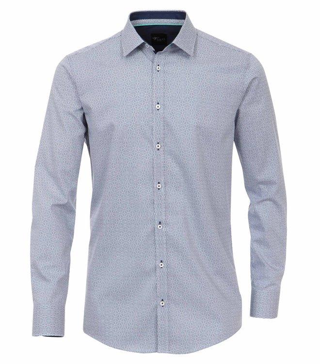 Venti Slim Fit Hemd Extra Lang - blau bedruckt