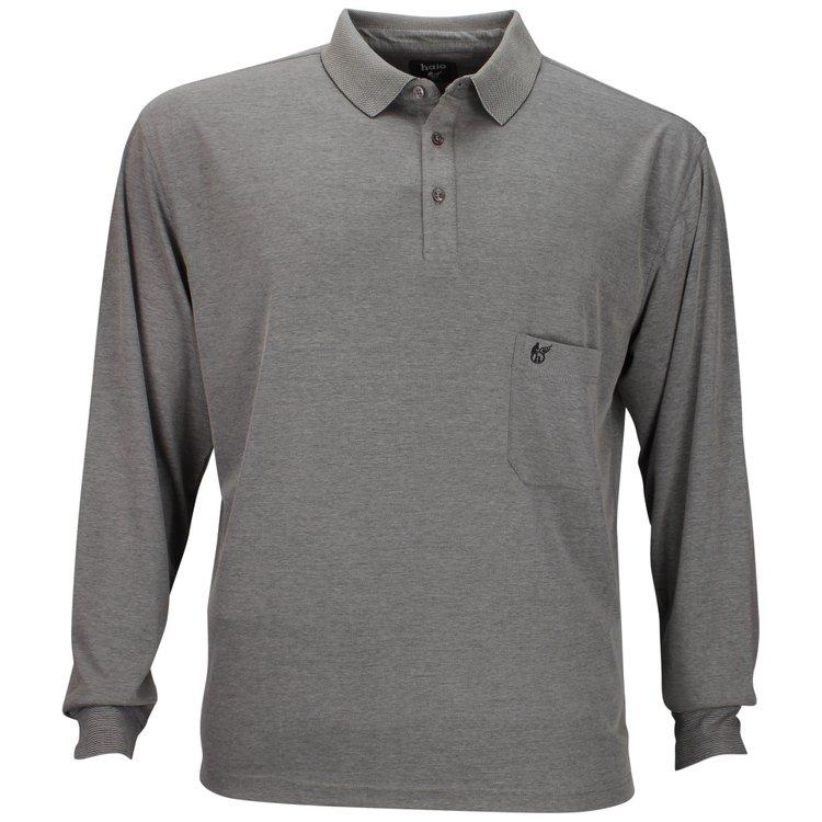 Langarm-Poloshirt Übergröße Grau