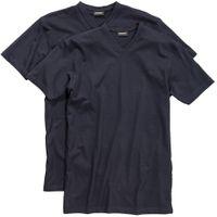 Redfield V-Ausschnitt T-Shirts in Übergrößen, 2er-Pack, dunkelblau 001