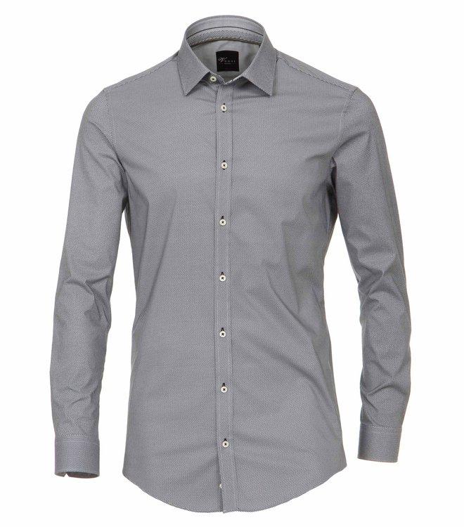 Grau bedrucktes Body Fit Hemd mit extra langem Arm