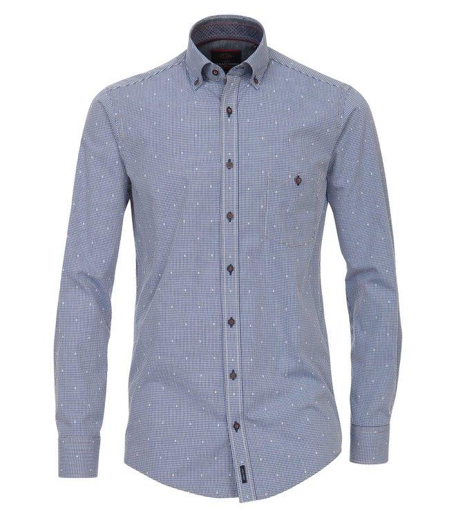 Extra langes Freizeithemd in blauem Karomuster