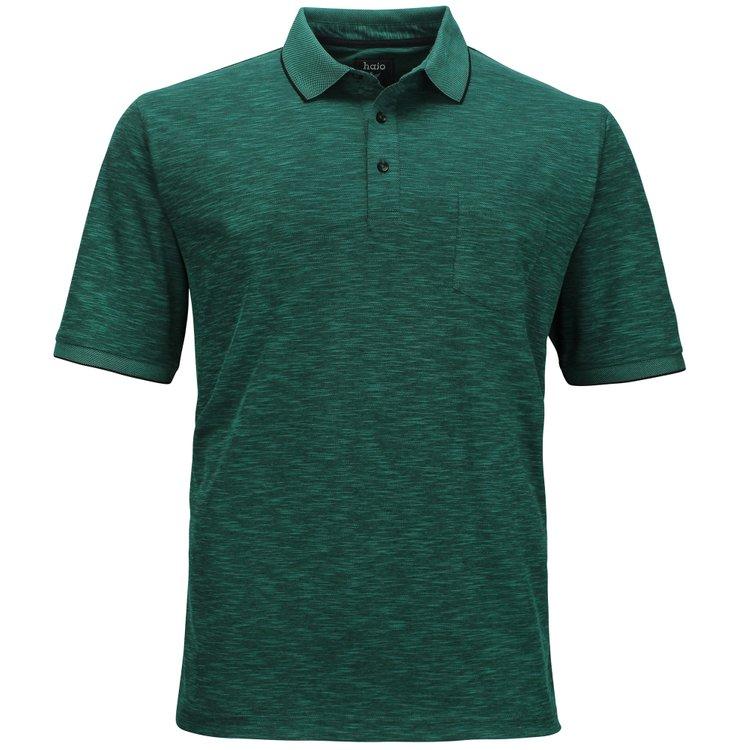 Hajo Poloshirt Übergröße, smaragdgrün melange