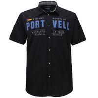 Redfield Kurzarmhemd in großen Größen - Port Vell - schwarz 001