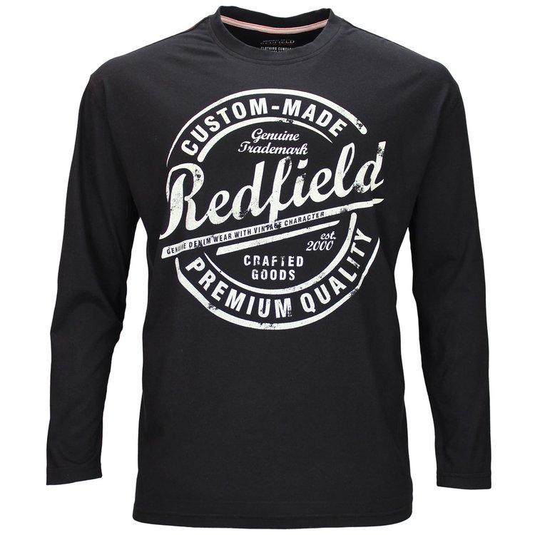 Redfield Langarmshirt Übergröße, schwarz