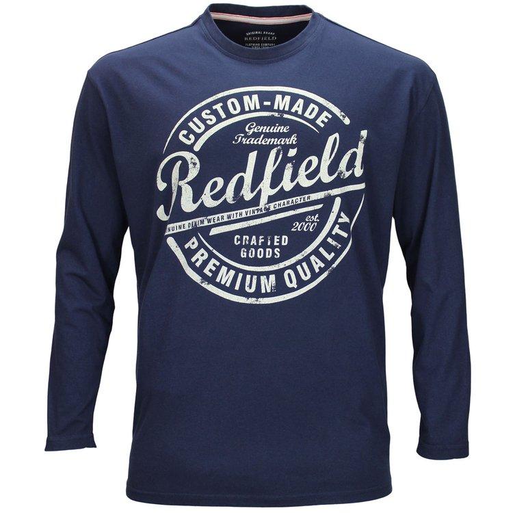 Redfield Langarmshirt Übergröße, dunkelblau
