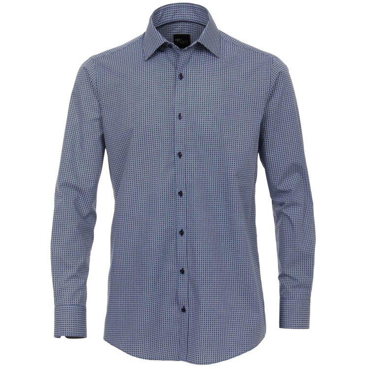 Venti Hemd extra lang, Slim Fit - blau bedruckt