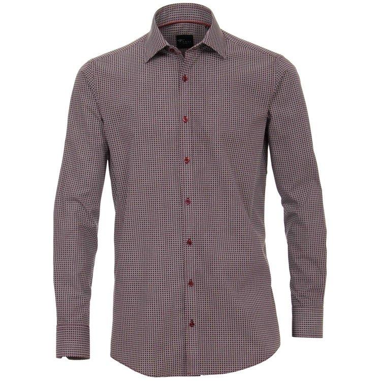 Venti Hemd extra lang, Slim Fit - dunkelrot bedruckt