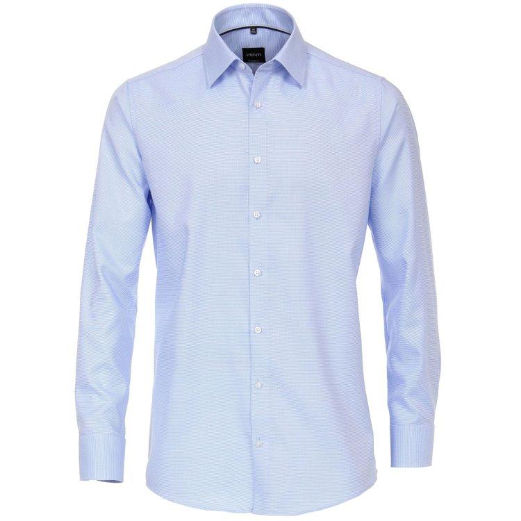 Venti Hemd extra lang, Slim Fit - azurblau strukturiert