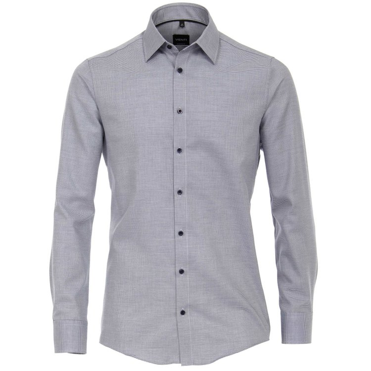 Venti Hemd extra lang, Slim Fit - blau strukturiert