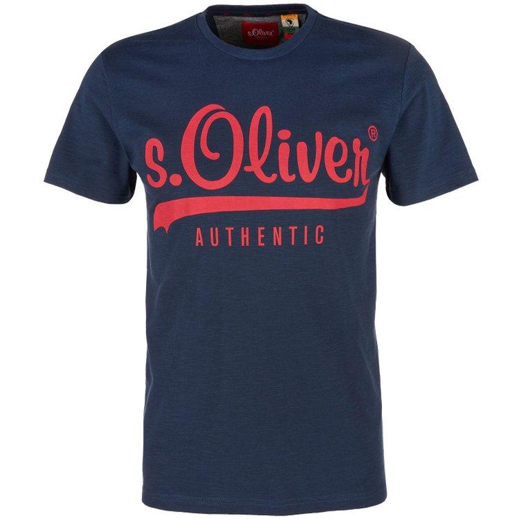 s.Oliver T-Shirt in Flammgarnoptik - nachtblau