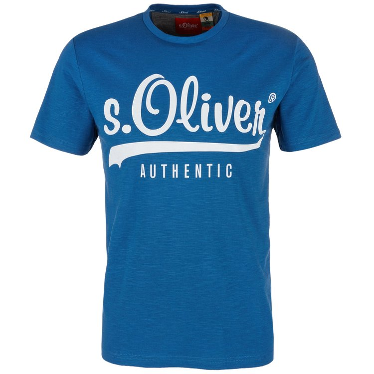 s.Oliver T-Shirt in Flammgarnoptik - blau
