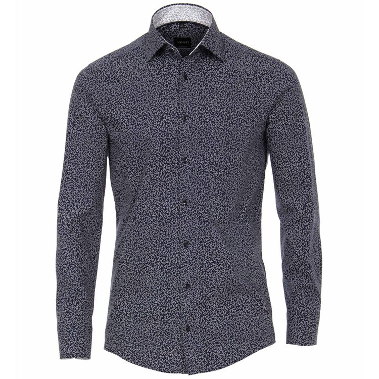 Venti Hemd extra lang, Slim Fit - dunkelblau mit Paisley-Muster