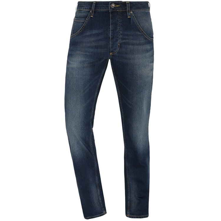 Mustang Jeans extra lang, Michigan Straight - blau im Used-Look