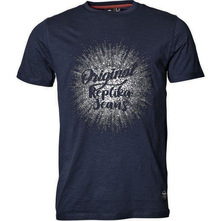 Replika T-Shirt extra lang - dunkelblau