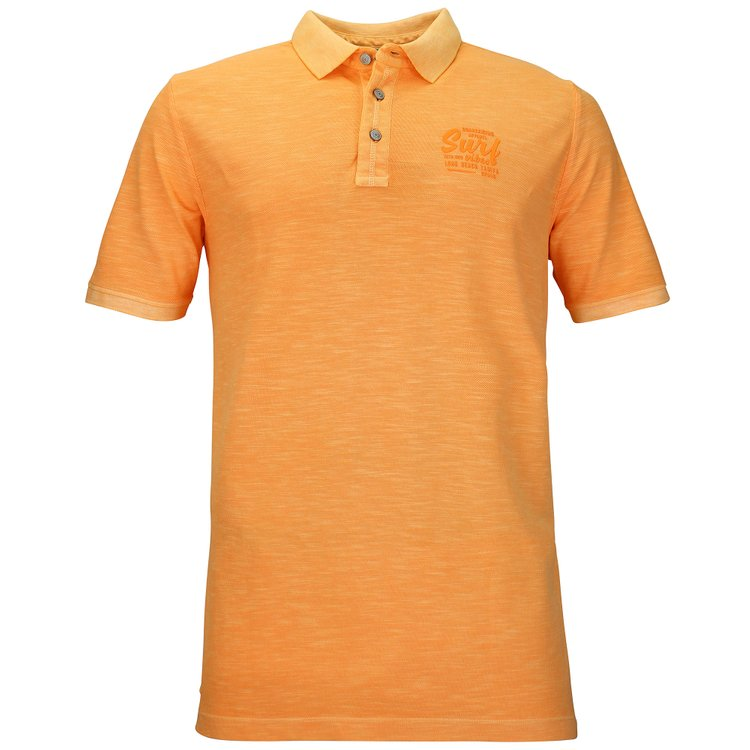 Kitaro Poloshirt extra lang - papaya im Washed-Look