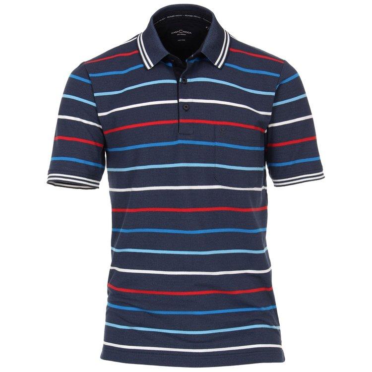 Herren Poloshirt Übergröße, blau/rot