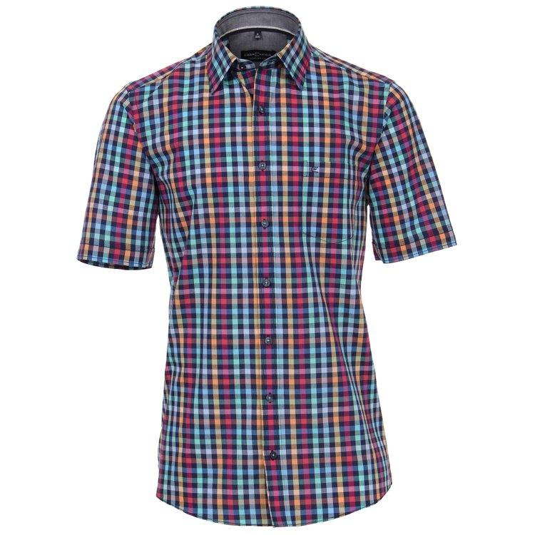 Casa Moda Kurzarmhemd mit schickem Karomuster - mehrfarbig