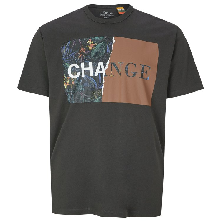 s.Oliver T-Shirt mit floralem Print - grau