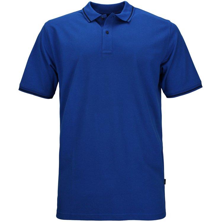 Kitaro Poloshirt extra lang - blau mit Streifen
