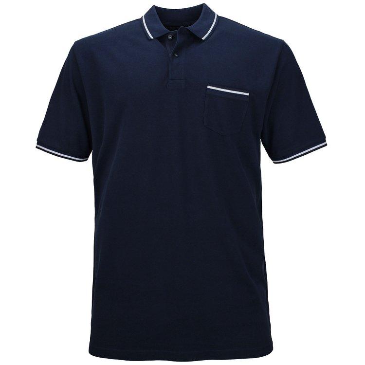 Kitaro Poloshirt extra lang mit Brusttasche - dunkelblau