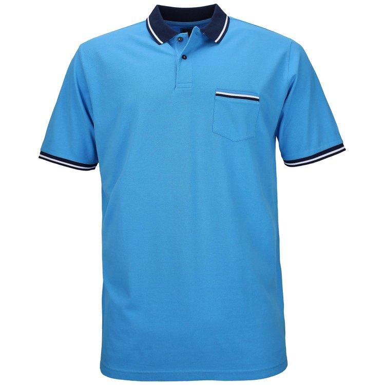 Kitaro Poloshirt extra lang mit Brusttasche - malibu blau