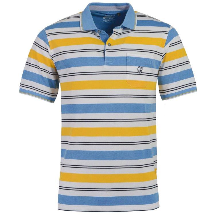 Hajo Piqué Poloshirt, Stay Fresh® - blau/gelb gestreift