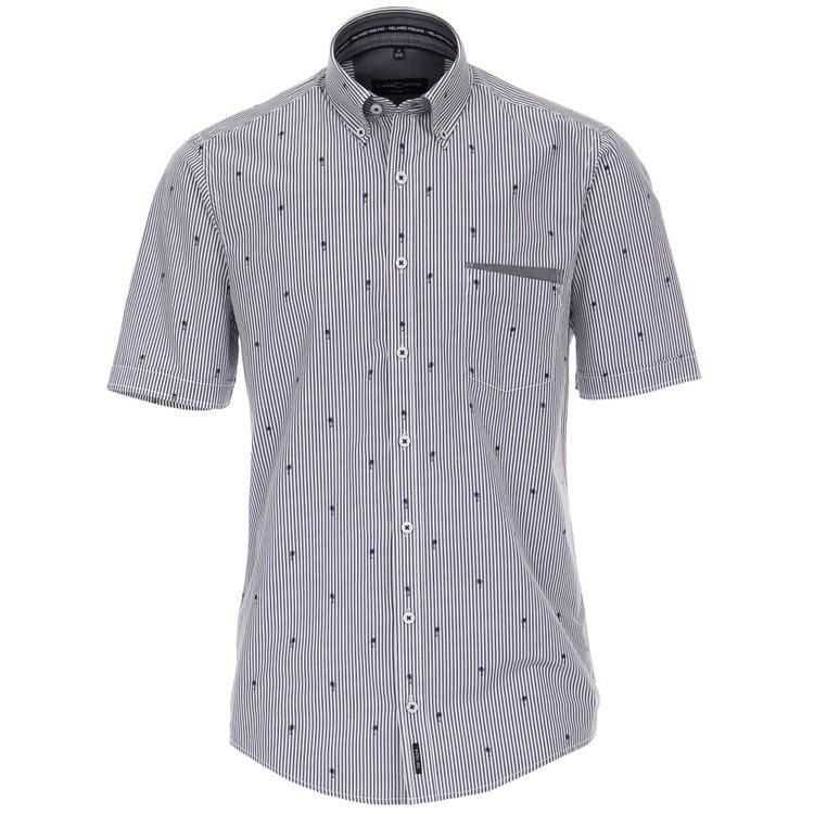 Kurzarm Hemd Übergröße, blau gestreift