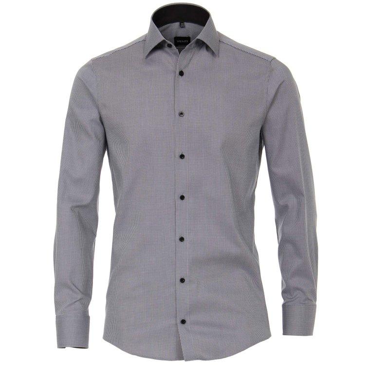 Venti Hemd extra langer Arm, grau strukturiert
